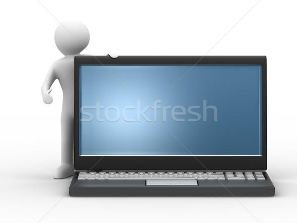 Foto stock: Hombre · portátil · blanco · aislado · 3D · imagen