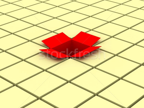 Red open box. 3D image Stock photo © ISerg