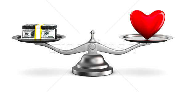 Heart and money on scales. Isolated 3D image Stock photo © ISerg