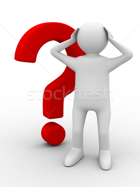 man with question on white. Isolated 3D image Stock photo © ISerg