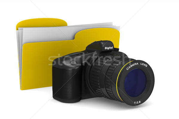 Stockfoto: Digitale · camera · witte · geïsoleerd · 3d · illustration · lichaam · technologie