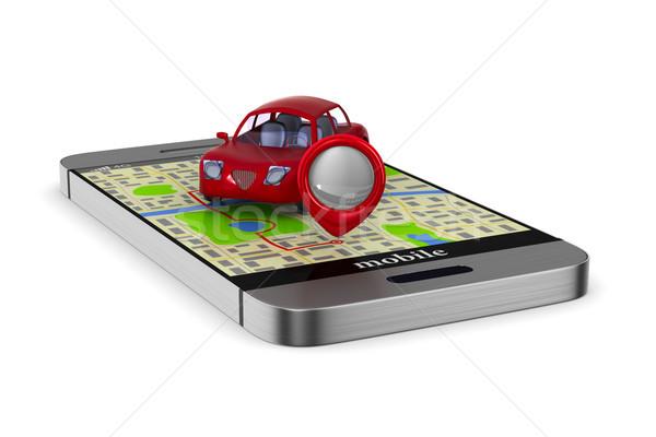 Navigasyon telefon yalıtılmış 3d illustration araba harita Stok fotoğraf © ISerg