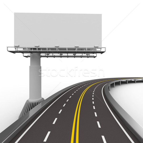 asphalted road with billboard. Isolated 3D image Stock photo © ISerg