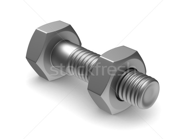 Bolt and nut on white background. Isolated 3D image Stock photo © ISerg