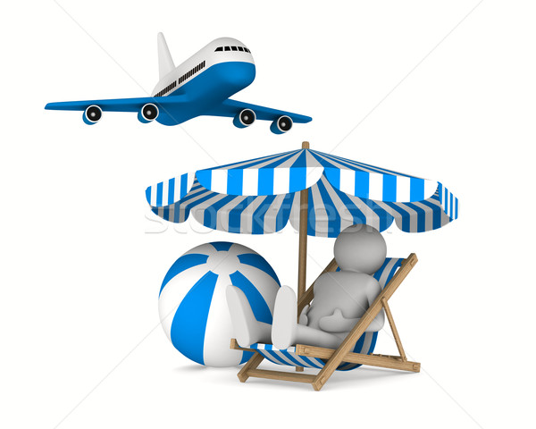 Man on deckchair and ball on white background. Isolated 3D image Stock photo © ISerg