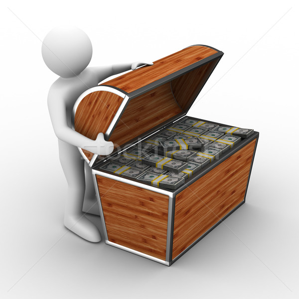 Open box with dollars on white background. Isolated 3D image Stock photo © ISerg