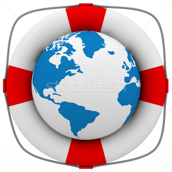 Stock fotó: Bolygó · védelem · izolált · 3D · kép · földgömb