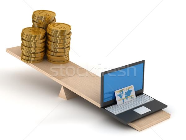 Porównanie ecommerce pieniężnych odizolowany 3D obraz Zdjęcia stock © ISerg