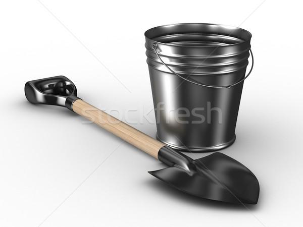 Shovel and bucket on white background. Isolated 3D image Stock photo © ISerg