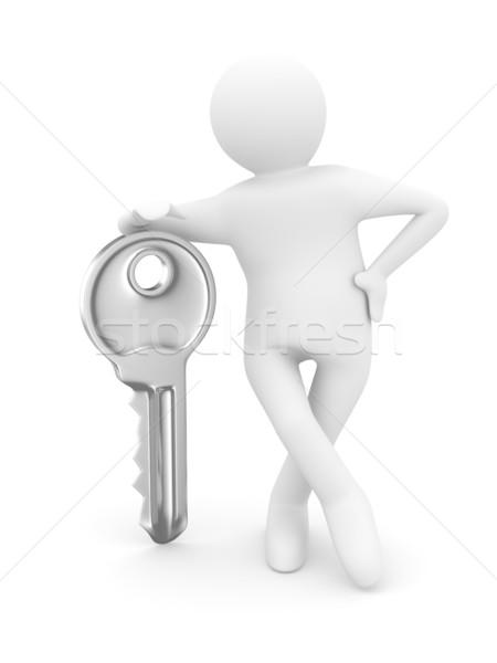 key and man on white background. 3D image Stock photo © ISerg