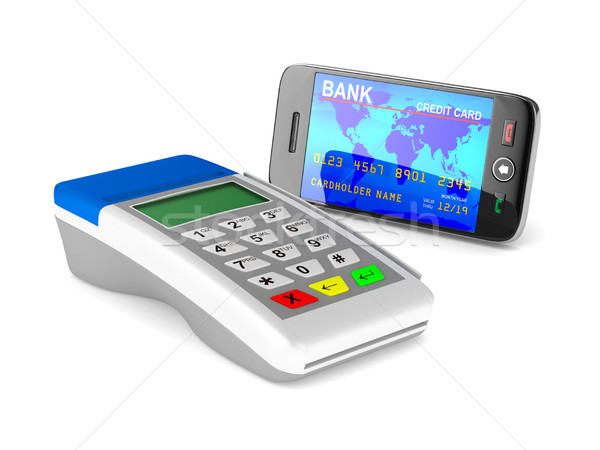 Payment by phone on white background. Isolated 3D image Stock photo © ISerg