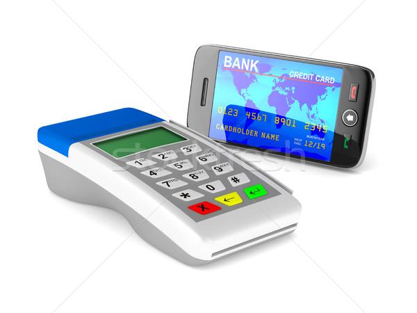 Bezahlung Telefon weiß isoliert 3D Bild Stock foto © ISerg