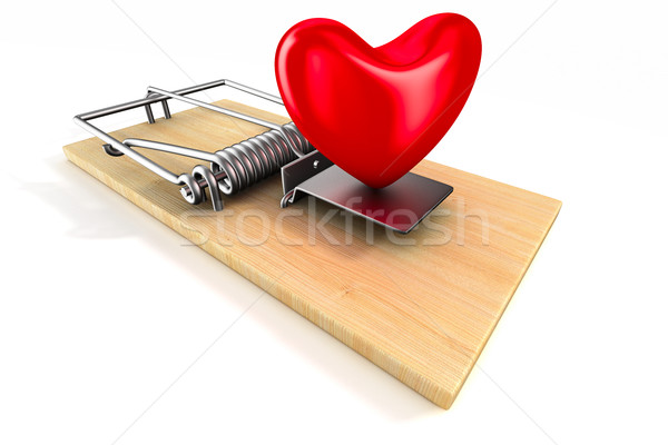 heart in mousetrap. Isolated 3D image Stock photo © ISerg