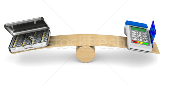 pos terminal and money on scale. Isolated 3D illustration Stock photo © ISerg