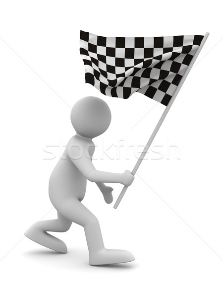Stock photo: man with flag on white background. Isolated 3D image