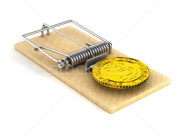 mousetrap and bitcoin on white background. Isolated 3D image Stock photo © ISerg