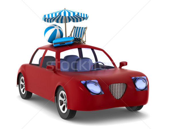 Red car on white background. Isolated 3D illustration Stock photo © ISerg