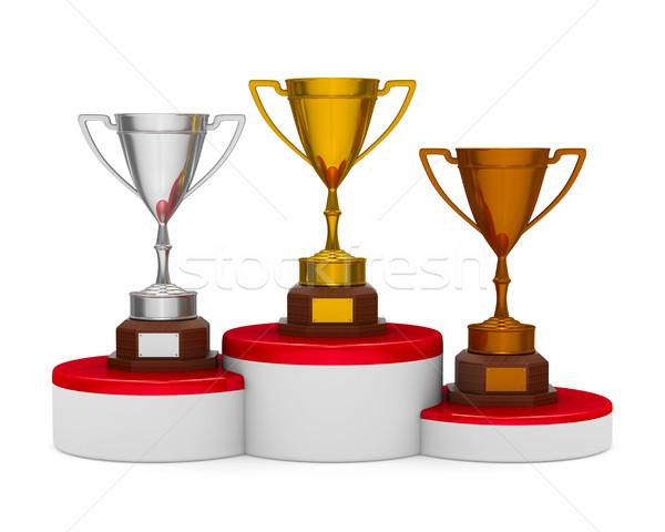 подиум трофей Кубок белый изолированный 3D Сток-фото © ISerg