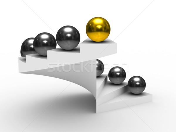 Irányítás fehér izolált 3D kép siker Stock fotó © ISerg