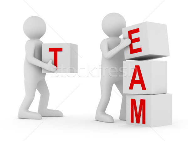 Conceptual image teamwork on white. Isolated 3D image Stock photo © ISerg