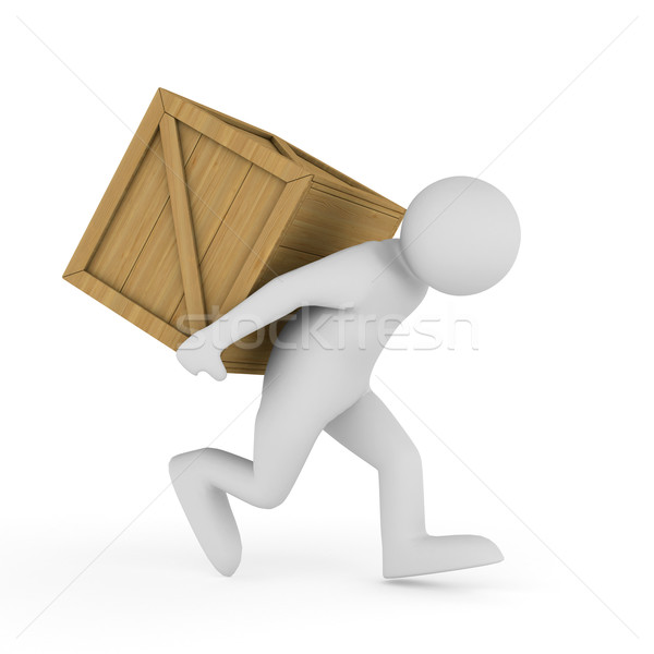men carry box on back. Isolated 3D image Stock photo © ISerg
