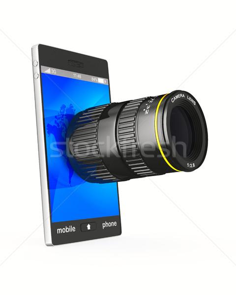 Foto d'archivio: Telefono · lenti · bianco · isolato · 3D · immagine