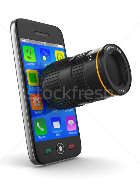 Telefonu obiektyw biały odizolowany 3D obraz Zdjęcia stock © ISerg
