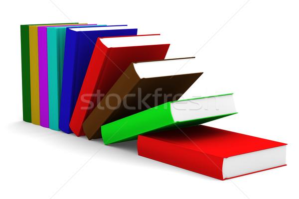 Stock fotó: Zuhan · könyvek · izolált · 3D · kép · fehér