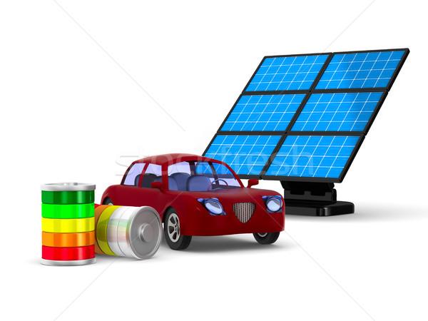 Red electro car on white background. Isolated 3D illustration Stock photo © ISerg