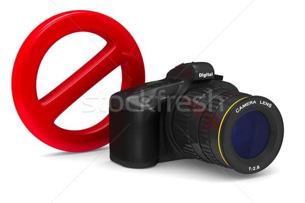 Câmera digital proibido assinar branco isolado ilustração 3d Foto stock © ISerg