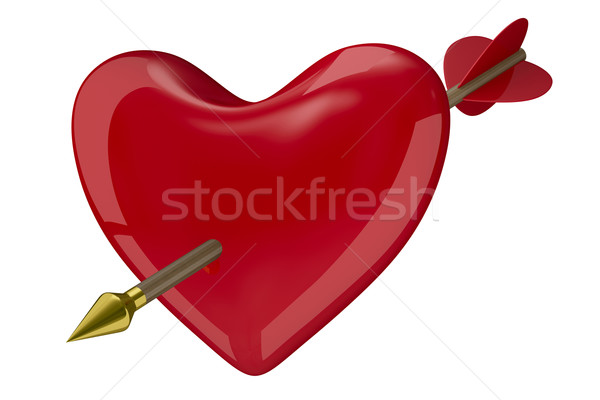 heart and arrow on white background. Isolated 3D image Stock photo © ISerg