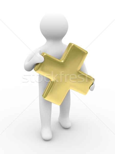 Man holds sign plus on white background. Isolated 3D image Stock photo © ISerg