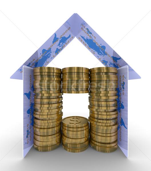денежный дома белый 3D изображение бизнеса Сток-фото © ISerg