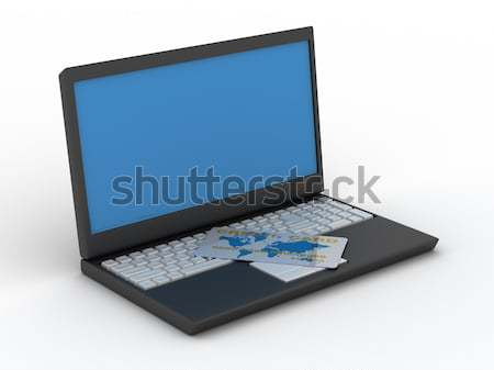 computer with a credit card on a white background. Isolated 3D image Stock photo © ISerg