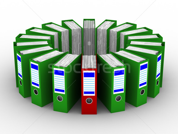Accounting folders standing around. 3D image on white background Stock photo © ISerg