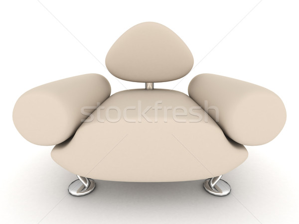Stock photo: leather armchair on a white background. 3D image.