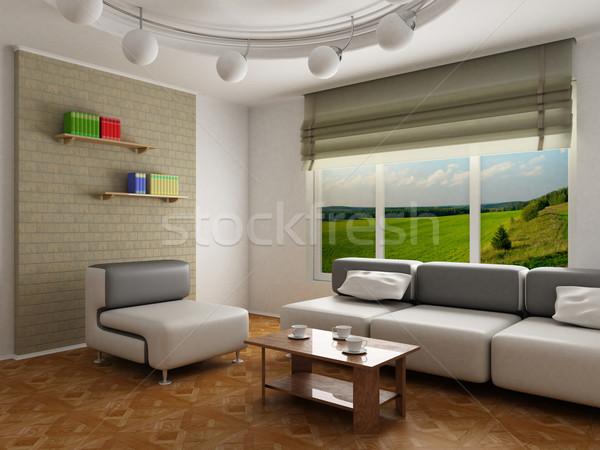 Interior habitación 3D imagen paisaje luz Foto stock © ISerg