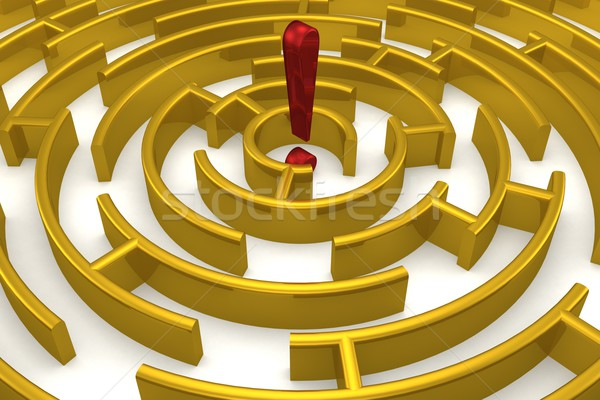 The gold labyrinth with reflection. 3D image. Stock photo © ISerg