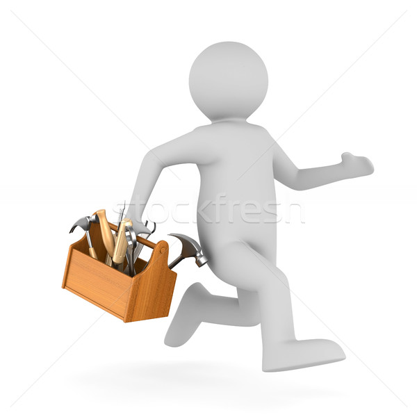 Man with wooden toolbox. Isolated 3D illustration Stock photo © ISerg