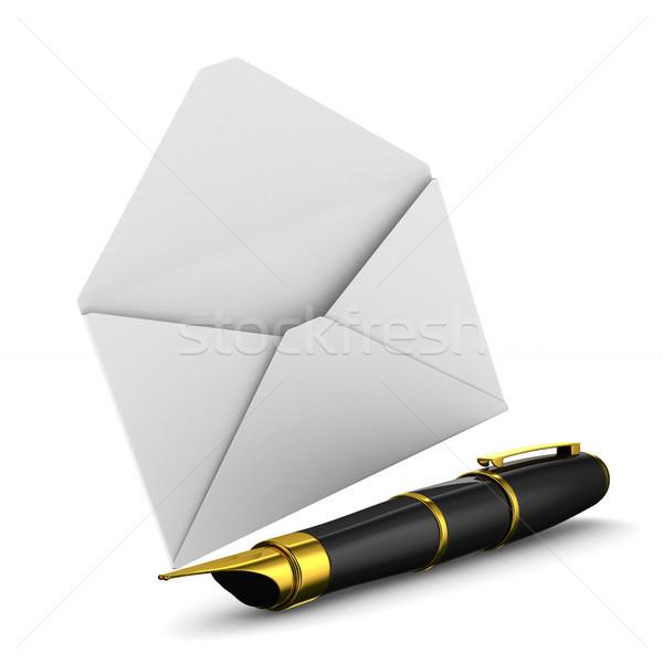 Caneta-tinteiro envelope branco isolado 3D imagem Foto stock © ISerg