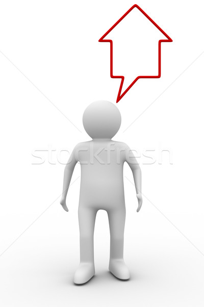 person thinks of house. Isolated 3D image Stock photo © ISerg