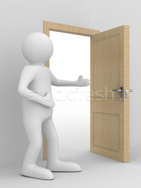 Férfi passz nyitott ajtó 3D kép otthon Stock fotó © ISerg