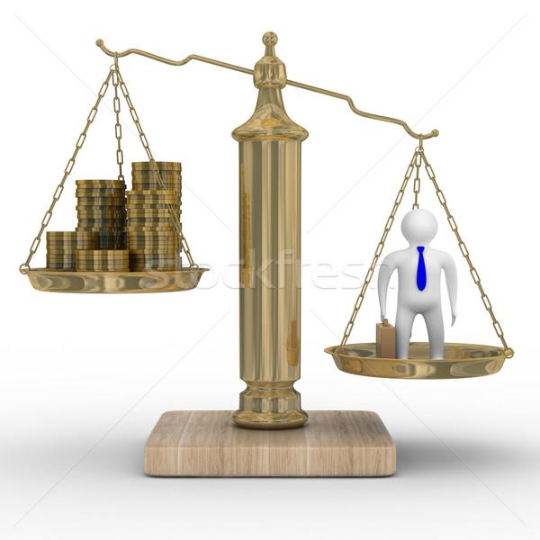 Stok fotoğraf: Işadamı · ağırlıklar · yalıtılmış · 3D · görüntü · para