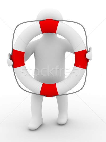 Stock photo: rescuer with lifebuoy ring on white background. Isolated 3D image