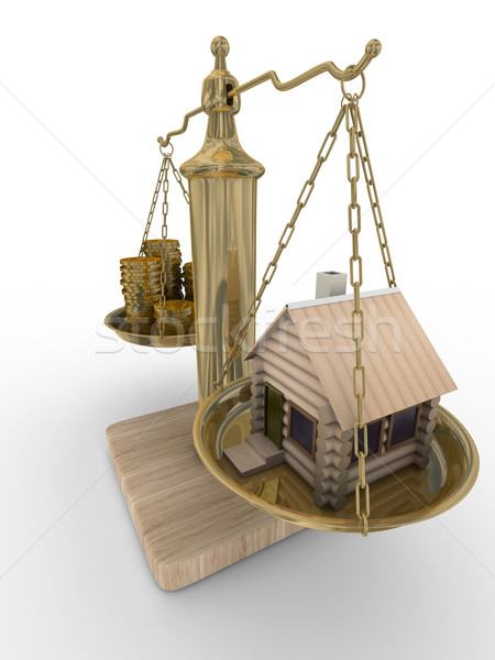 house and cashes on weights. Isolated 3D image Stock photo © ISerg