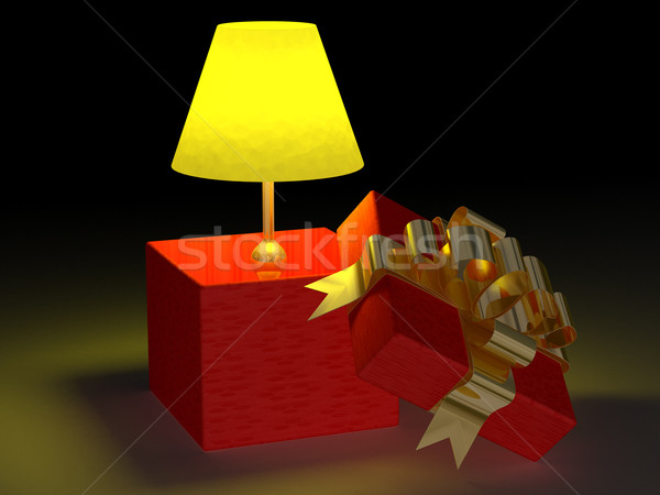 Shone lamp in a gift box. 3D image Stock photo © ISerg