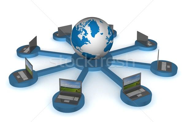 Globális hálózat internet 3D kép földgömb Stock fotó © ISerg
