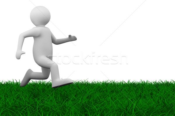 Fut személy fű izolált 3D kép Stock fotó © ISerg
