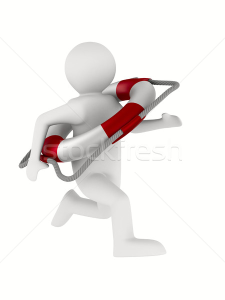 rescuer with lifebuoy ring on white background. Isolated 3D imag Stock photo © ISerg