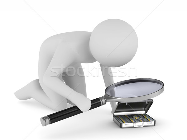 Man with magnifier on white background. Isolated 3D illustration Stock photo © ISerg